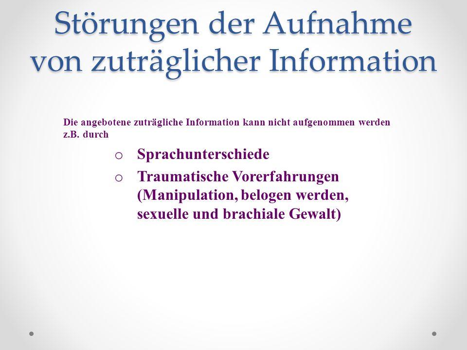 Störungen der Aufnahme von zuträglicher Information Die angebotene zuträgliche Information kann nicht aufgenommen werden z.B. durch o Sprachunterschie