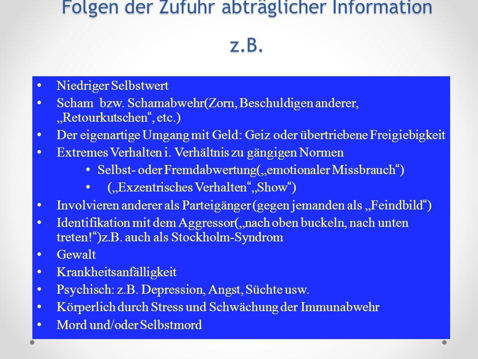 Folgen der Zufuhr abträglicher Information z.B. Niedriger Selbstwert Scham bzw. Schamabwehr(Zorn, Beschuldigen anderer, Retourkutschen, etc.) Der eige