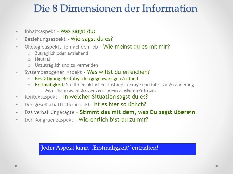 Die 8 Dimensionen der Information Die 8 Dimensionen der Information Inhaltsaspekt - Was sagst du? Beziehungsaspekt - Wie sagst du es? Ökologieaspekt,