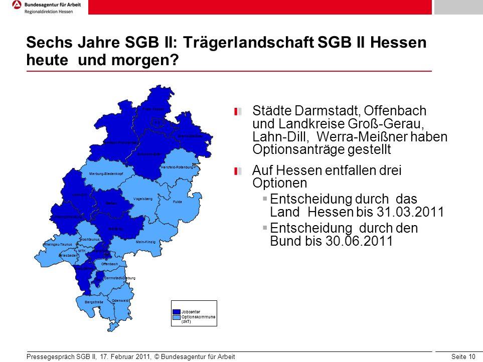 Seite 10 Sechs Jahre SGB II: Trägerlandschaft SGB II Hessen heute und morgen.