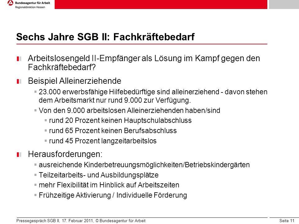 Seite 11 Sechs Jahre SGB II: Fachkräftebedarf Arbeitslosengeld II-Empfänger als Lösung im Kampf gegen den Fachkräftebedarf.