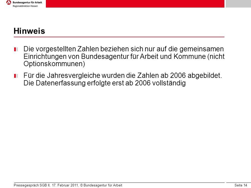 Seite 14 Hinweis Die vorgestellten Zahlen beziehen sich nur auf die gemeinsamen Einrichtungen von Bundesagentur für Arbeit und Kommune (nicht Optionskommunen) Für die Jahresvergleiche wurden die Zahlen ab 2006 abgebildet.