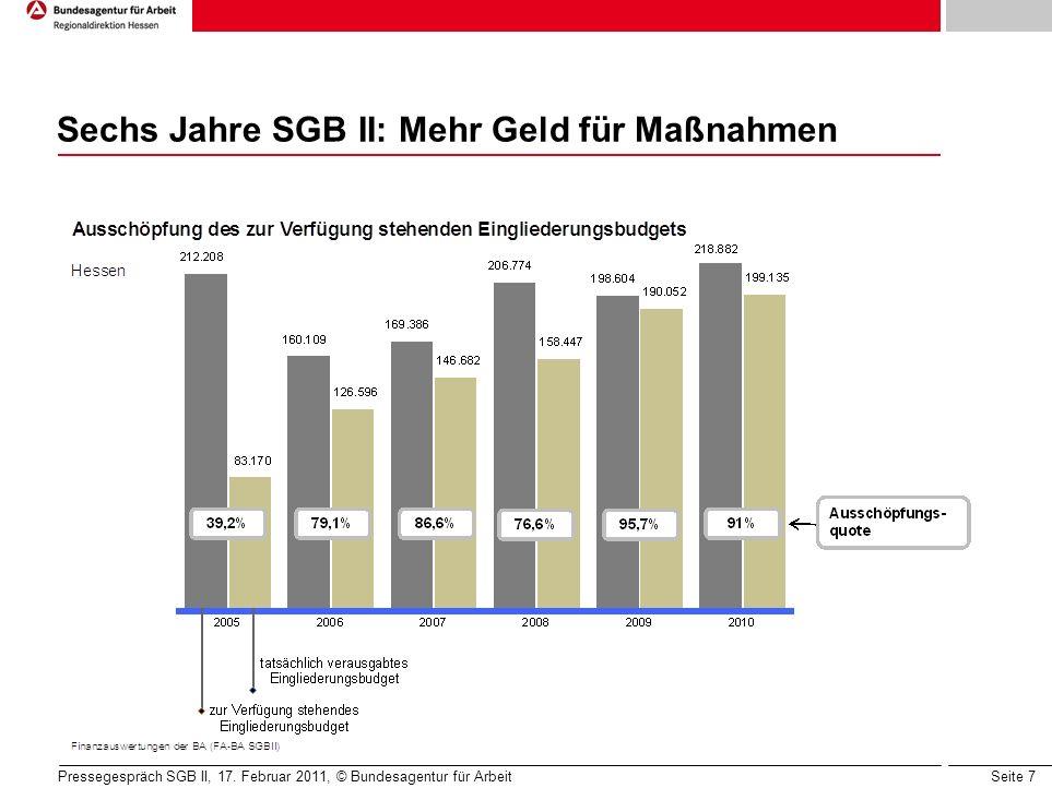 Seite 7 Sechs Jahre SGB II: Mehr Geld für Maßnahmen Pressegespräch SGB II, 17.