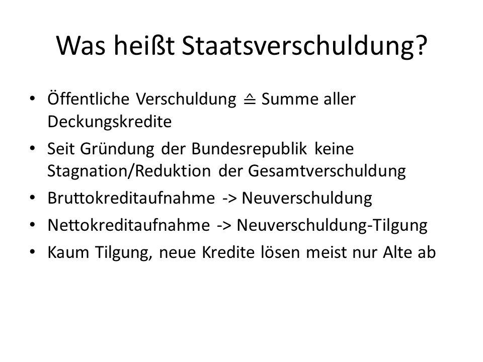 Was heißt Staatsverschuldung? Öffentliche Verschuldung Summe aller Deckungskredite Seit Gründung der Bundesrepublik keine Stagnation/Reduktion der Ges