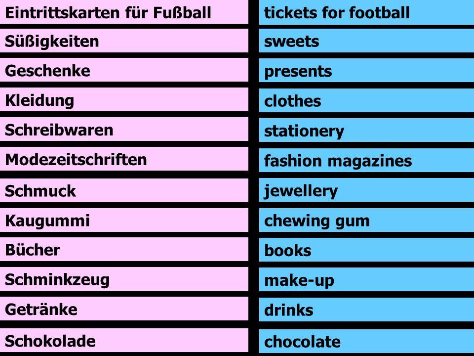 Eintrittskarten für Fußball Süßigkeiten Geschenke Kleidung Schreibwaren Modezeitschriften Schmuck Kaugummi tickets for football sweets presents clothe