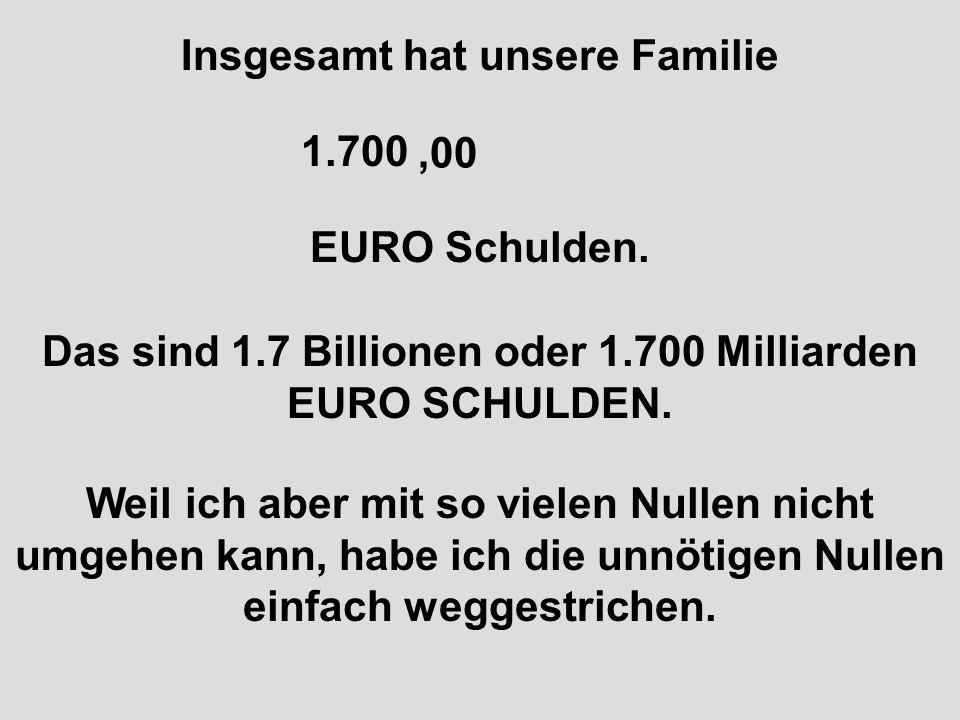 Insgesamt hat unsere Familie 1.700.000.000.000 EURO Schulden.