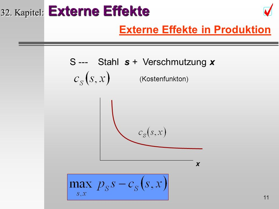 10 Externe Effekte 32. Kapitel: Externe Effekte Geld & Rauch Raucher & Nichtraucher m s A B f 0 Rauch 1 Rauch Quasilineare Nutzenfunktion Coase Theore