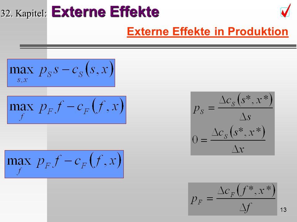 12 Externe Effekte 32. Kapitel: Externe Effekte Externe Effekte in Produktion Flussabwärts (down river) F --- Fischprodukt f x (Kostenfunkton)