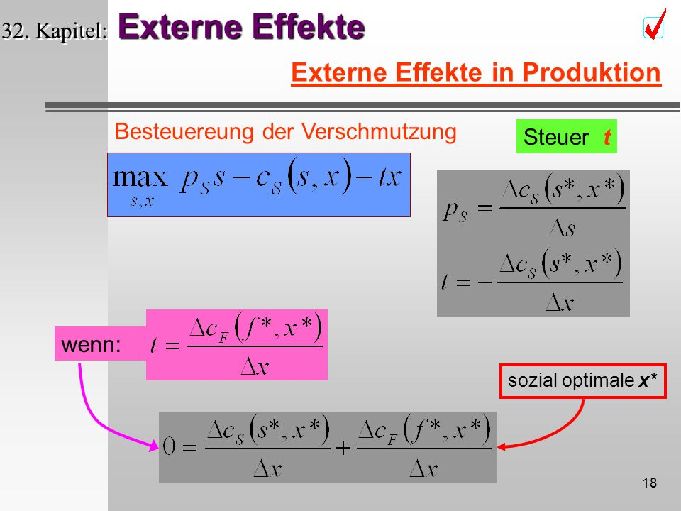 17 Externe Effekte 32. Kapitel: Externe Effekte Externe Effekte in Produktion x x x sozial optimale x privat optimale x