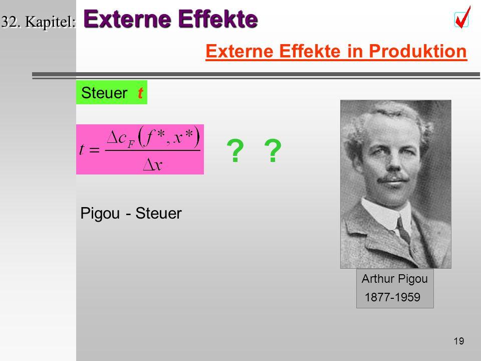 18 Externe Effekte 32. Kapitel: Externe Effekte Externe Effekte in Produktion Steuer t wenn: Besteuereung der Verschmutzung sozial optimale x*