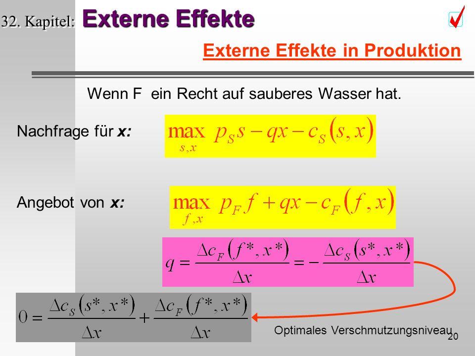 19 Externe Effekte 32. Kapitel: Externe Effekte Externe Effekte in Produktion Steuer t Pigou - Steuer Arthur Pigou 1877-1959 ?