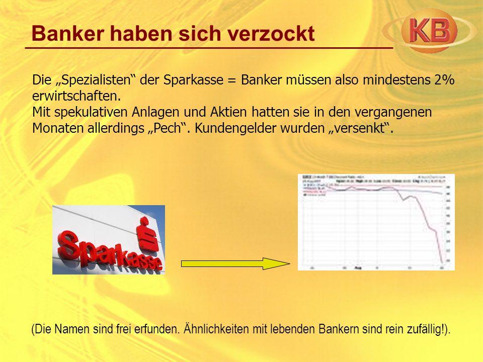 Banker haben sich verzockt Die Spezialisten der Sparkasse = Banker müssen also mindestens 2% erwirtschaften. Mit spekulativen Anlagen und Aktien hatte