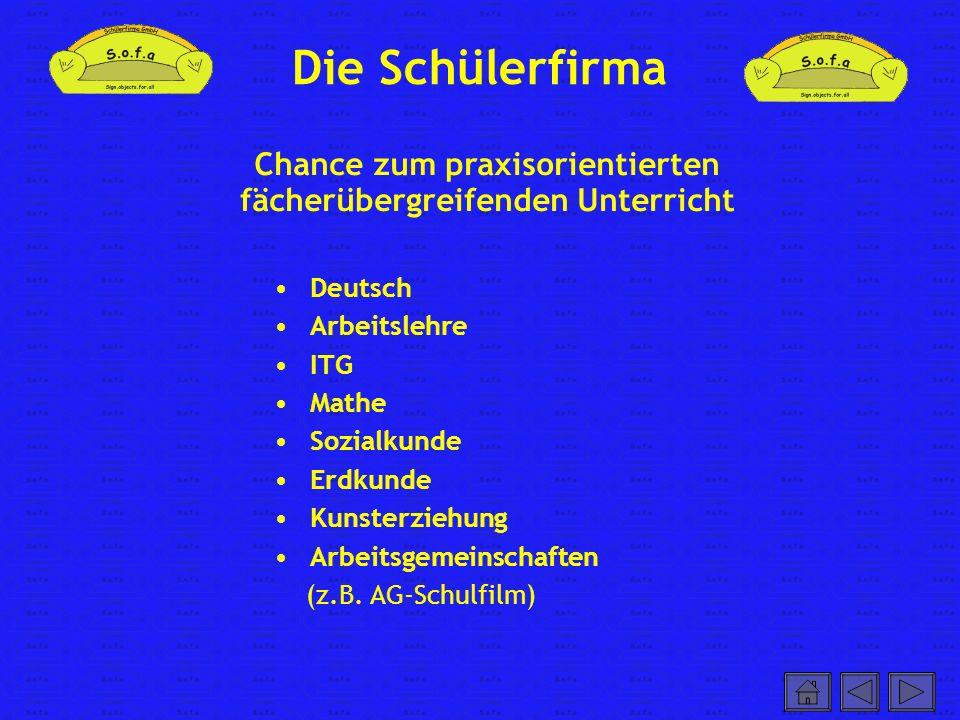 Die Schülerfirma Deutsch Arbeitslehre ITG Mathe Sozialkunde Erdkunde Kunsterziehung Arbeitsgemeinschaften (z.B. AG-Schulfilm) Chance zum praxisorienti