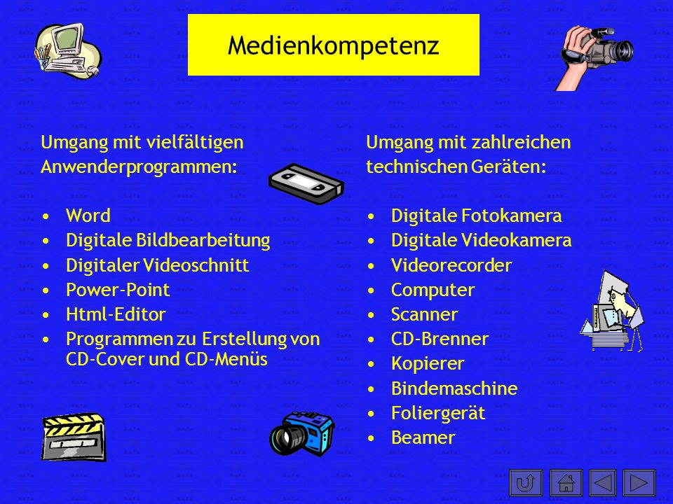 Medienkompetenz Umgang mit vielfältigen Anwenderprogrammen: Word Digitale Bildbearbeitung Digitaler Videoschnitt Power-Point Html-Editor Programmen zu Erstellung von CD-Cover und CD-Menüs Umgang mit zahlreichen technischen Geräten: Digitale Fotokamera Digitale Videokamera Videorecorder Computer Scanner CD-Brenner Kopierer Bindemaschine Foliergerät Beamer