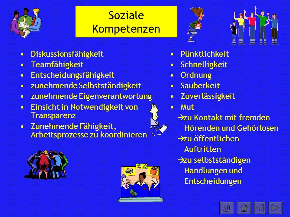 Soziale Kompetenzen Diskussionsfähigkeit Teamfähigkeit Entscheidungsfähigkeit zunehmende Selbstständigkeit zunehmende Eigenverantwortung Einsicht in N