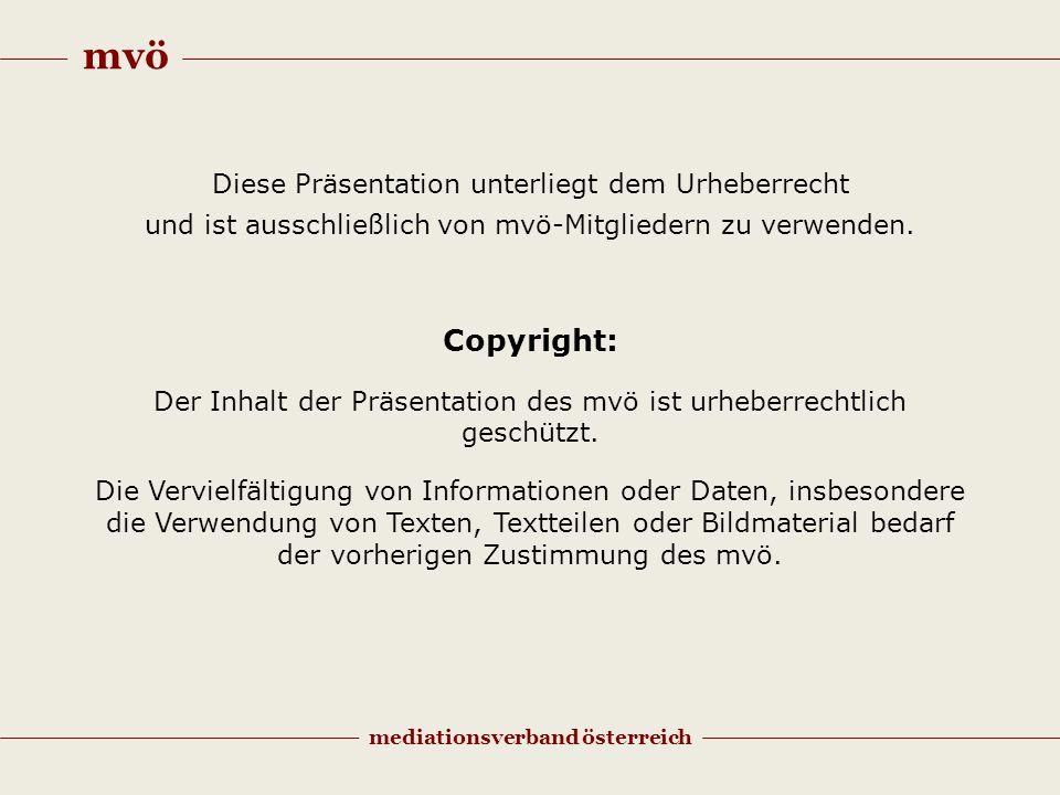 mvö mediationsverband österreich Diese Präsentation unterliegt dem Urheberrecht und ist ausschließlich von mvö-Mitgliedern zu verwenden. Copyright: De
