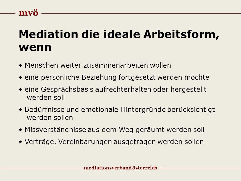 mvö mediationsverband österreich Mediation die ideale Arbeitsform, wenn Menschen weiter zusammenarbeiten wollen eine persönliche Beziehung fortgesetzt