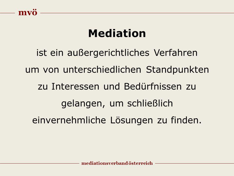 mvö mediationsverband österreich Mediation ist ein außergerichtliches Verfahren um von unterschiedlichen Standpunkten zu Interessen und Bedürfnissen zu gelangen, um schließlich einvernehmliche Lösungen zu finden.