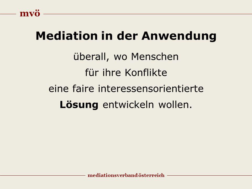 mvö mediationsverband österreich Mediation in der Anwendung überall, wo Menschen für ihre Konflikte eine faire interessensorientierte Lösung entwickeln wollen.