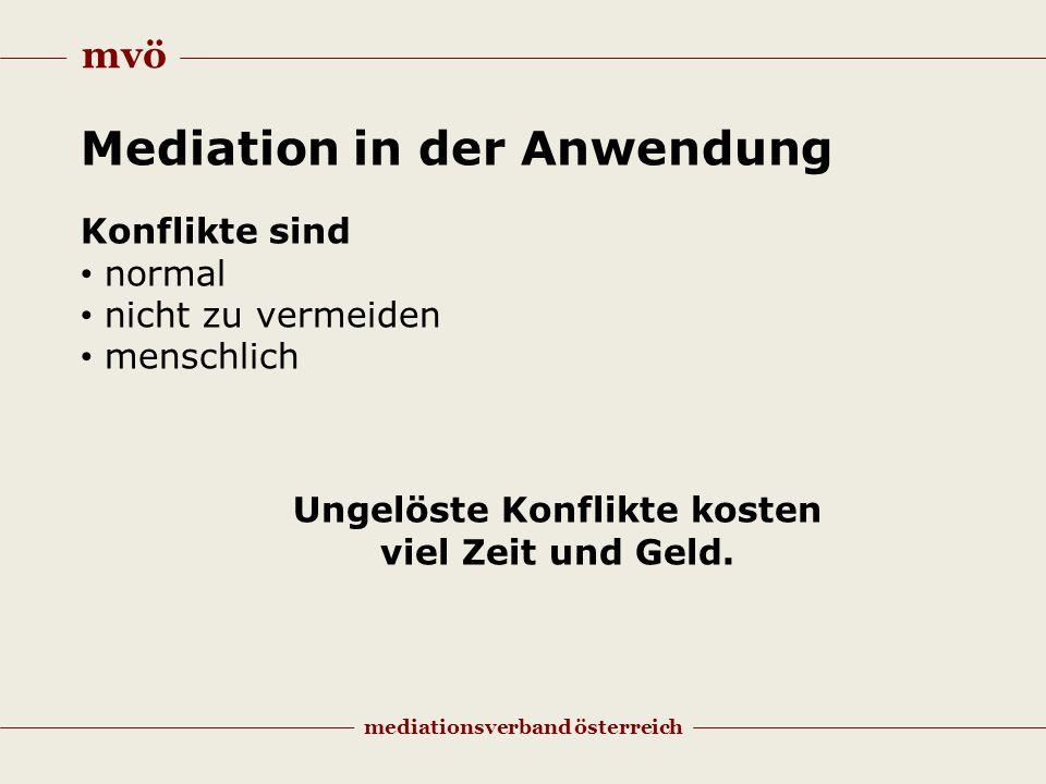mvö mediationsverband österreich Mediation in der Anwendung Konflikte sind normal nicht zu vermeiden menschlich Ungelöste Konflikte kosten viel Zeit und Geld.