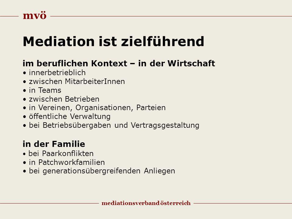 mvö mediationsverband österreich Mediation ist zielführend im beruflichen Kontext – in der Wirtschaft innerbetrieblich zwischen MitarbeiterInnen in Te