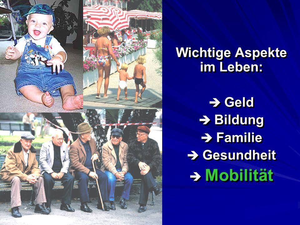 Wichtige Aspekte im Leben: Geld Bildung Familie Gesundheit Mobilität Wichtige Aspekte im Leben: Geld Bildung Familie Gesundheit Mobilität