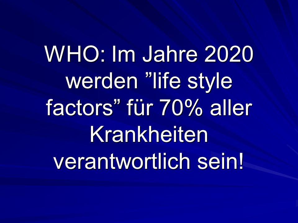 WHO: Im Jahre 2020 werden life style factors für 70% aller Krankheiten verantwortlich sein!
