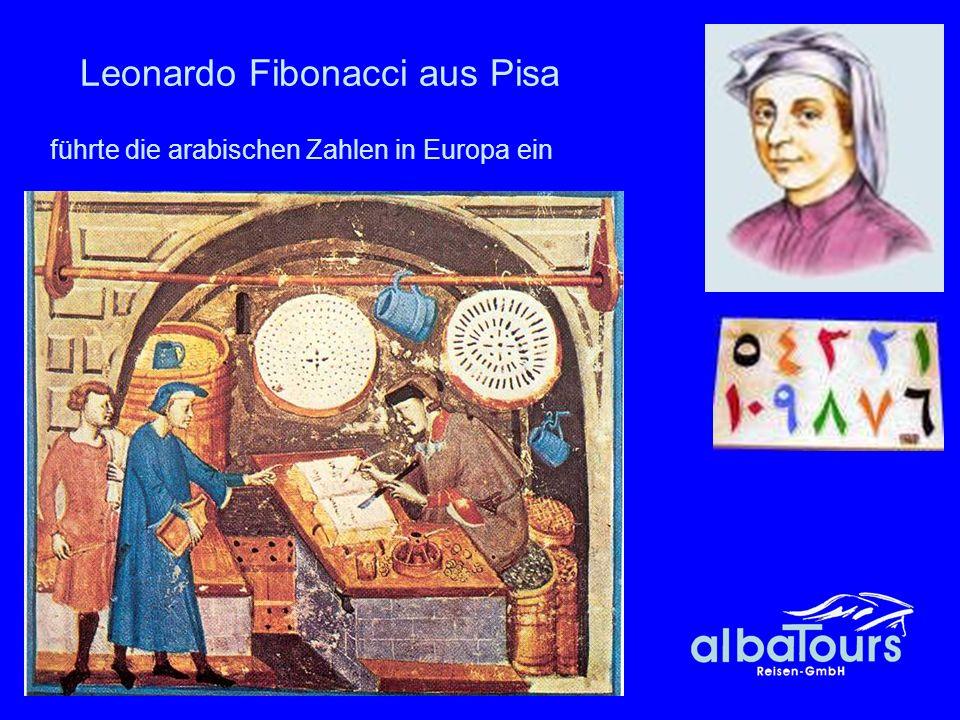 18 Leonardo Fibonacci aus Pisa führte die arabischen Zahlen in Europa ein