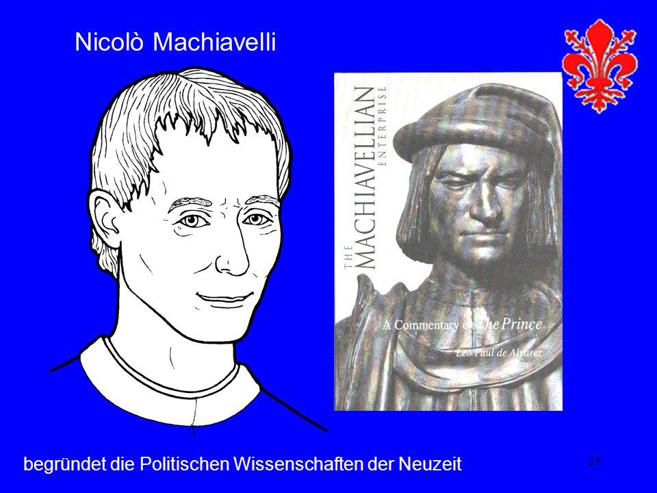 25 Nicolò Machiavelli begründet die Politischen Wissenschaften der Neuzeit