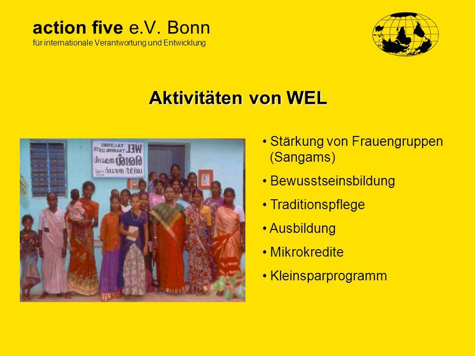action five e.V. Bonn für internationale Verantwortung und Entwicklung Aktivitäten von WEL Stärkung von Frauengruppen (Sangams) Bewusstseinsbildung Tr