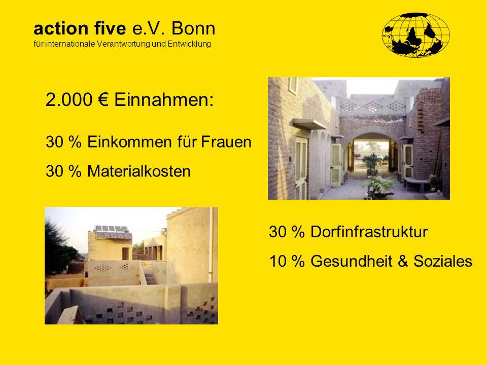 action five e.V. Bonn für internationale Verantwortung und Entwicklung 2.000 Einnahmen: 30 % Einkommen für Frauen 30 % Materialkosten 30 % Dorfinfrast