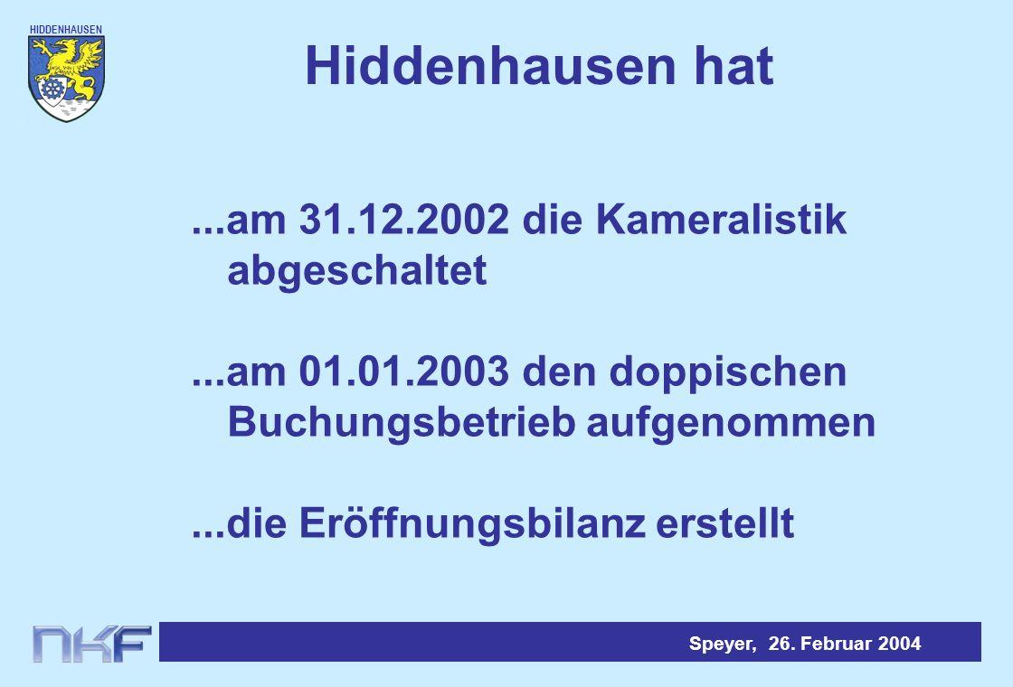 HIDDENHAUSEN Speyer, 26.Februar 2004 Hiddenhausen hat...