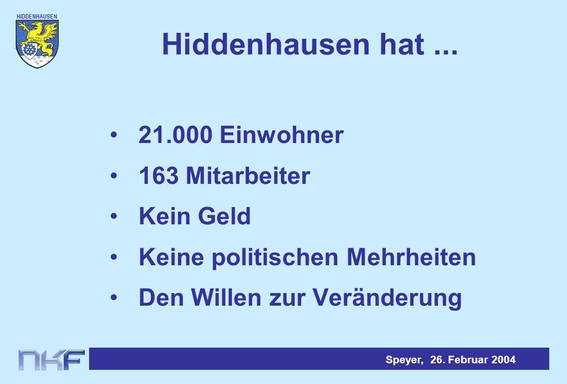 HIDDENHAUSEN Speyer, 26. Februar 2004 Ämter / Ausschüsse (Ideal)