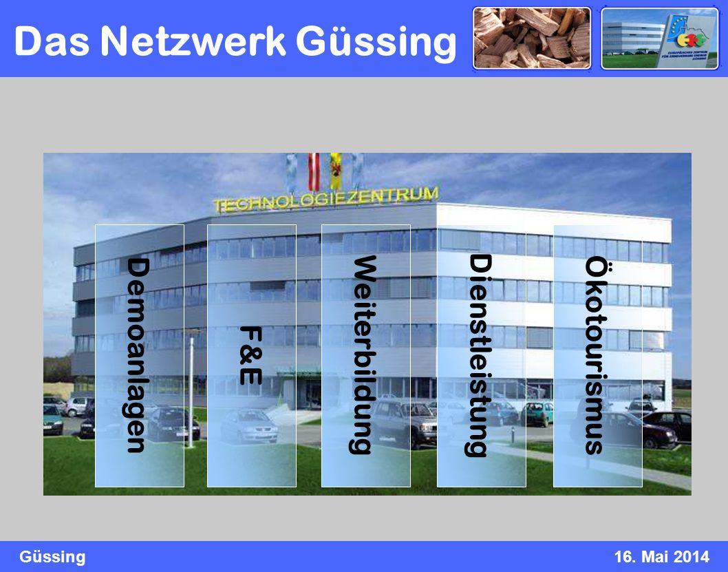 Güssing16. Mai 2014 Ökotourismus Demoanlagen F&E Weiterbildung Dienstleistung Das Netzwerk Güssing