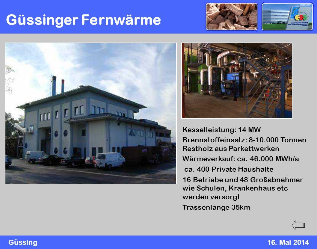 Güssing16. Mai 2014 Güssinger Fernwärme Kesselleistung: 14 MW Brennstoffeinsatz: 8-10.000 Tonnen Restholz aus Parkettwerken Wärmeverkauf: ca. 46.000 M