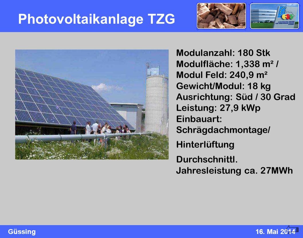 Güssing16. Mai 2014 Photovoltaikanlage TZG Modulanzahl: 180 Stk Modulfläche: 1,338 m² / Modul Feld: 240,9 m² Gewicht/Modul: 18 kg Ausrichtung: Süd / 3