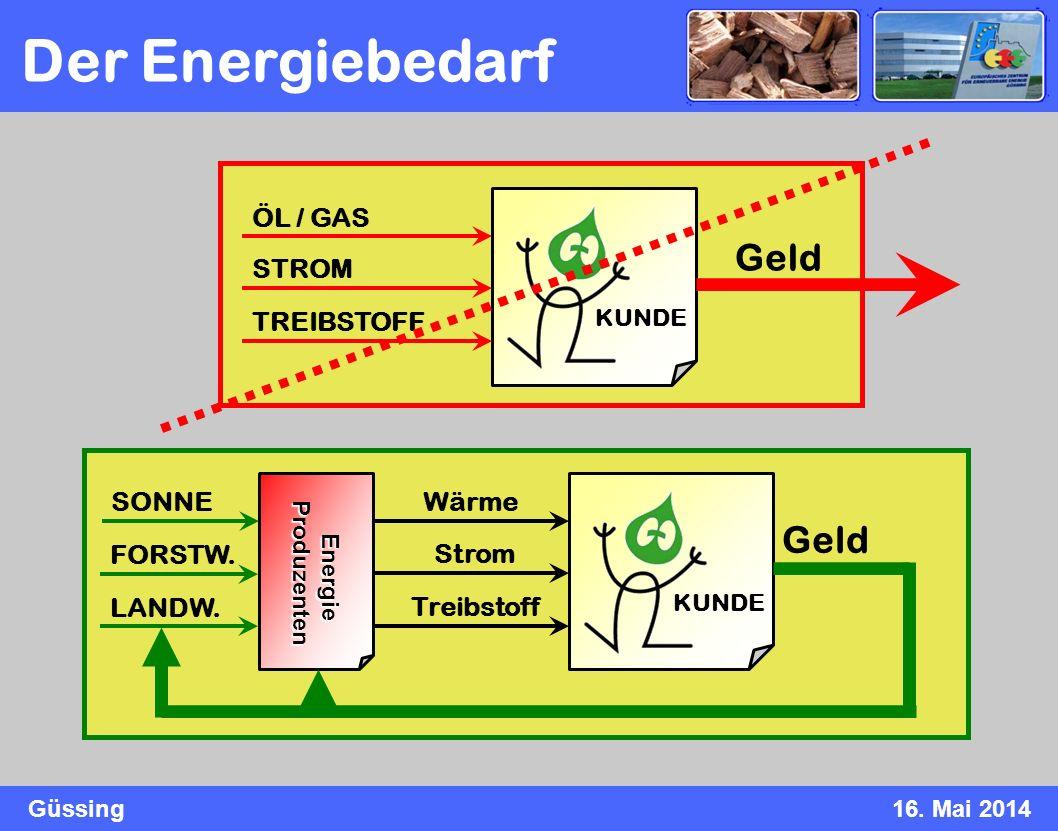 Güssing16. Mai 2014 Der Energiebedarf KUNDE ÖL / GAS STROM TREIBSTOFF Geld KUNDE Wärme Strom Treibstoff Geld Energie Energie Produzenten Produzenten S