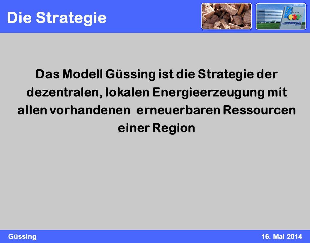 Güssing16. Mai 2014 Das Modell Güssing ist die Strategie der dezentralen, lokalen Energieerzeugung mit allen vorhandenen erneuerbaren Ressourcen einer