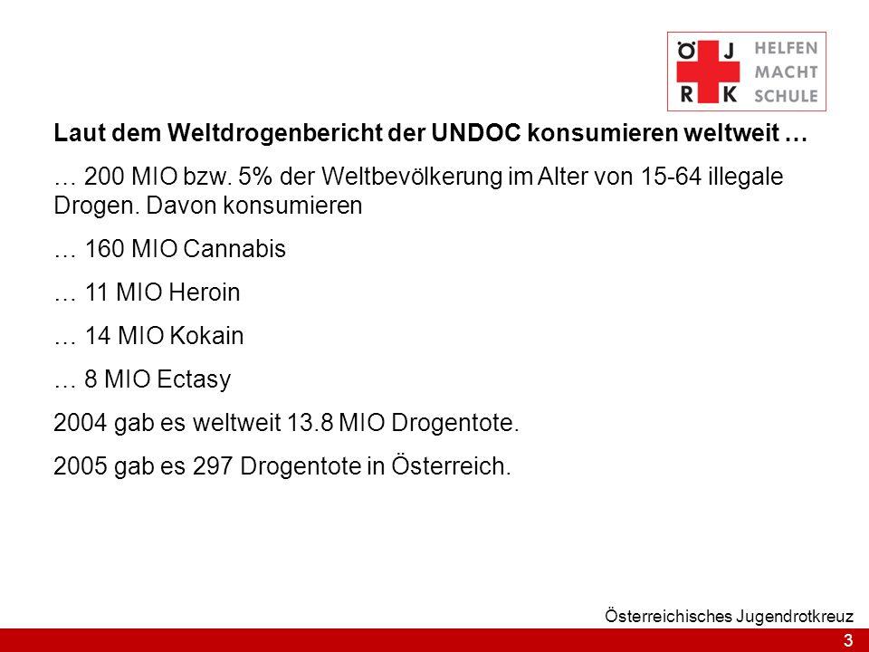 3 Österreichisches Jugendrotkreuz Laut dem Weltdrogenbericht der UNDOC konsumieren weltweit … … 200 MIO bzw. 5% der Weltbevölkerung im Alter von 15-64