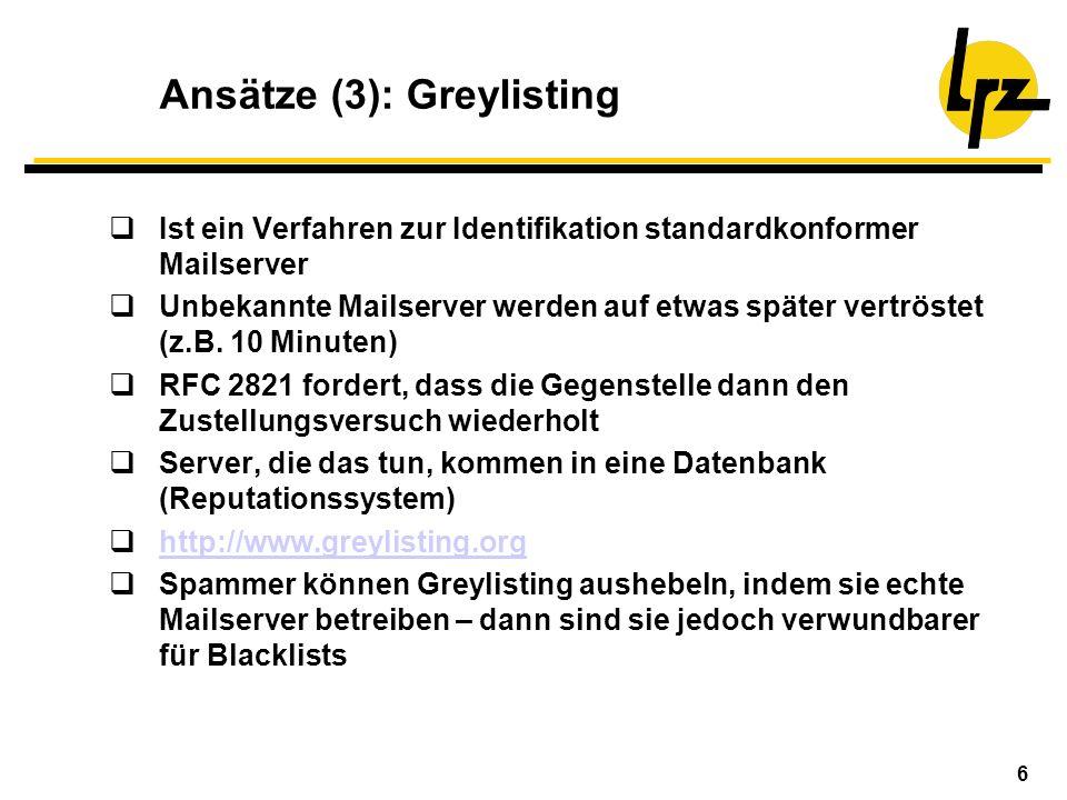 6 Ansätze (3): Greylisting Ist ein Verfahren zur Identifikation standardkonformer Mailserver Unbekannte Mailserver werden auf etwas später vertröstet