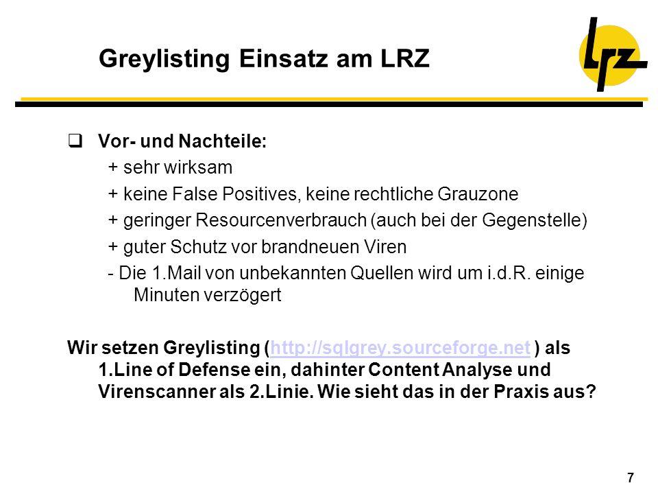 7 Greylisting Einsatz am LRZ Vor- und Nachteile: + sehr wirksam + keine False Positives, keine rechtliche Grauzone + geringer Resourcenverbrauch (auch