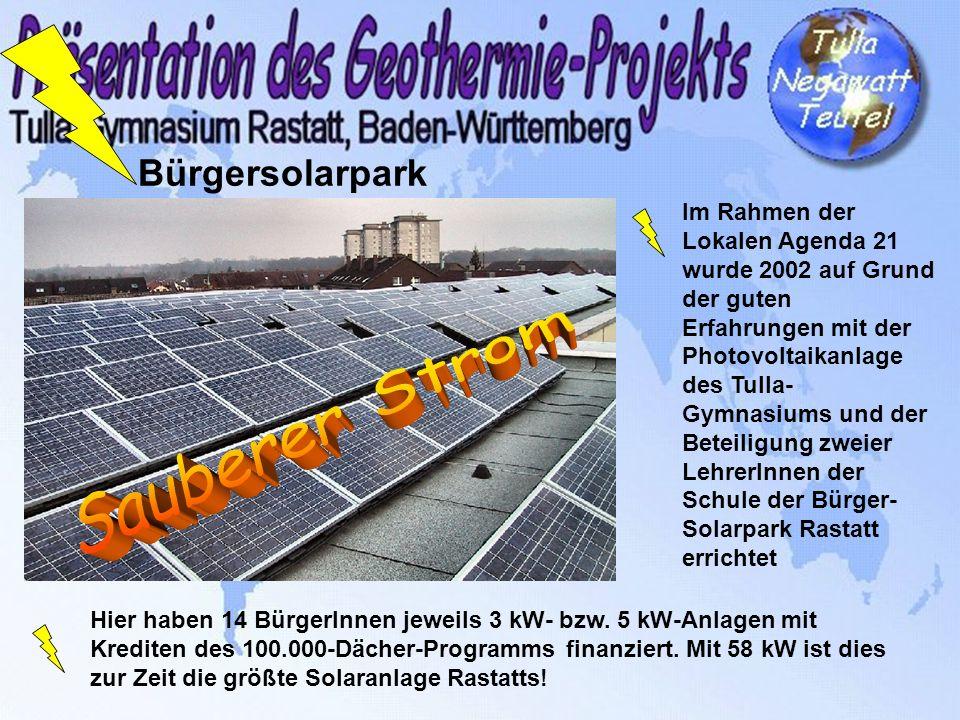 Bürgersolarpark Im Rahmen der Lokalen Agenda 21 wurde 2002 auf Grund der guten Erfahrungen mit der Photovoltaikanlage des Tulla- Gymnasiums und der Be