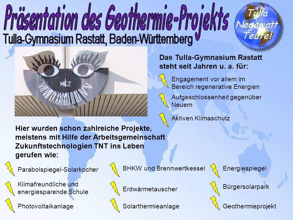 Das Tulla-Gymnasium Rastatt steht seit Jahren u. a. für: Engagement vor allem im Bereich regenerative Energien Aufgeschlossenheit gegenüber Neuem Akti