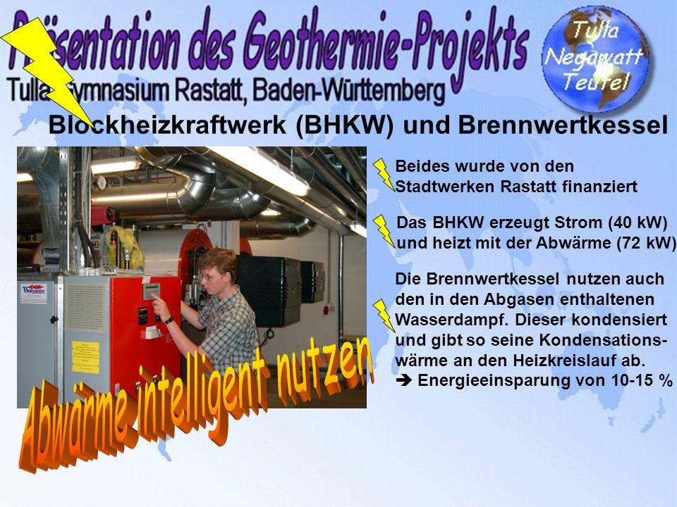 Blockheizkraftwerk (BHKW) und Brennwertkessel Beides wurde von den Stadtwerken Rastatt finanziert Das BHKW erzeugt Strom (40 kW) und heizt mit der Abw