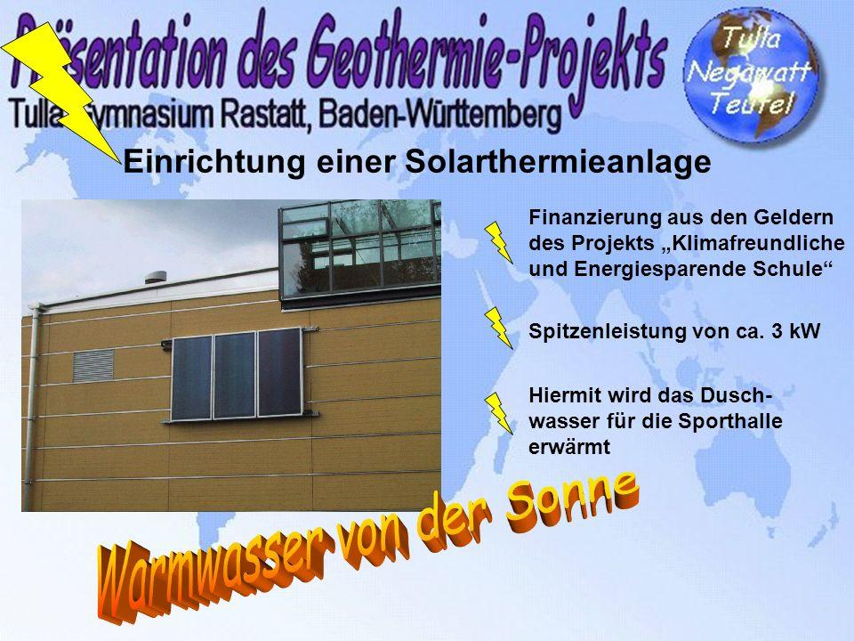 Einrichtung einer Solarthermieanlage Finanzierung aus den Geldern des Projekts Klimafreundliche und Energiesparende Schule Spitzenleistung von ca. 3 k
