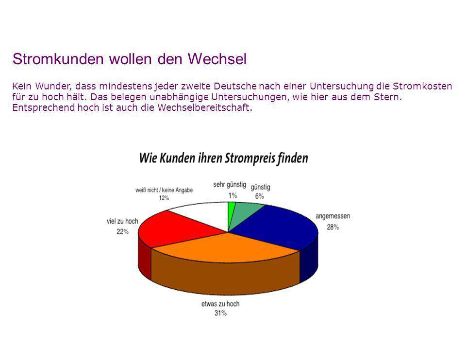 Stromkunden wollen den Wechsel Kein Wunder, dass mindestens jeder zweite Deutsche nach einer Untersuchung die Stromkosten für zu hoch hält. Das belege
