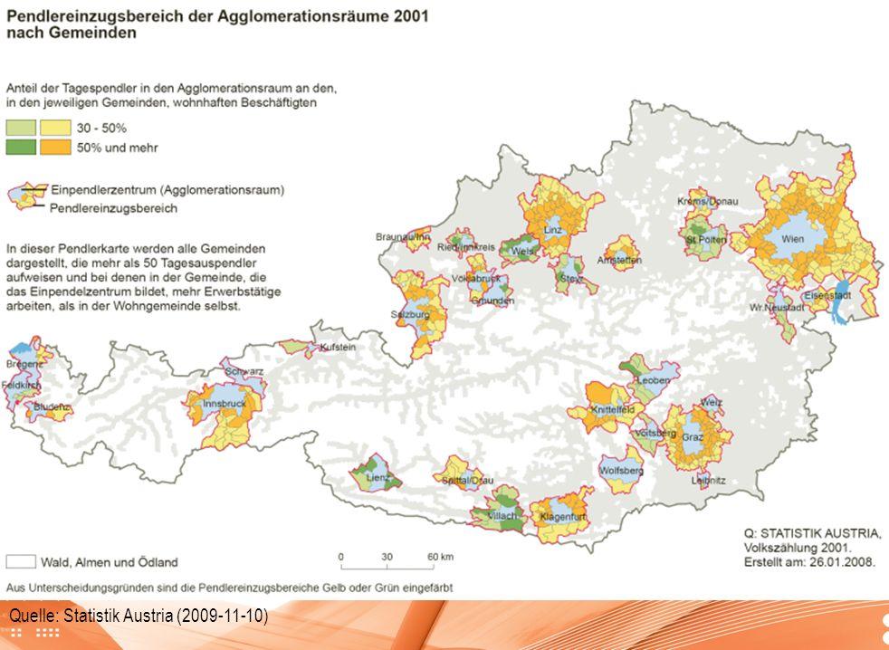 Universität für Bodenkultur Wien Department für Raum, Landschaft und Infrastruktur IRUB Quelle: Statistik Austria (2009-11-10)