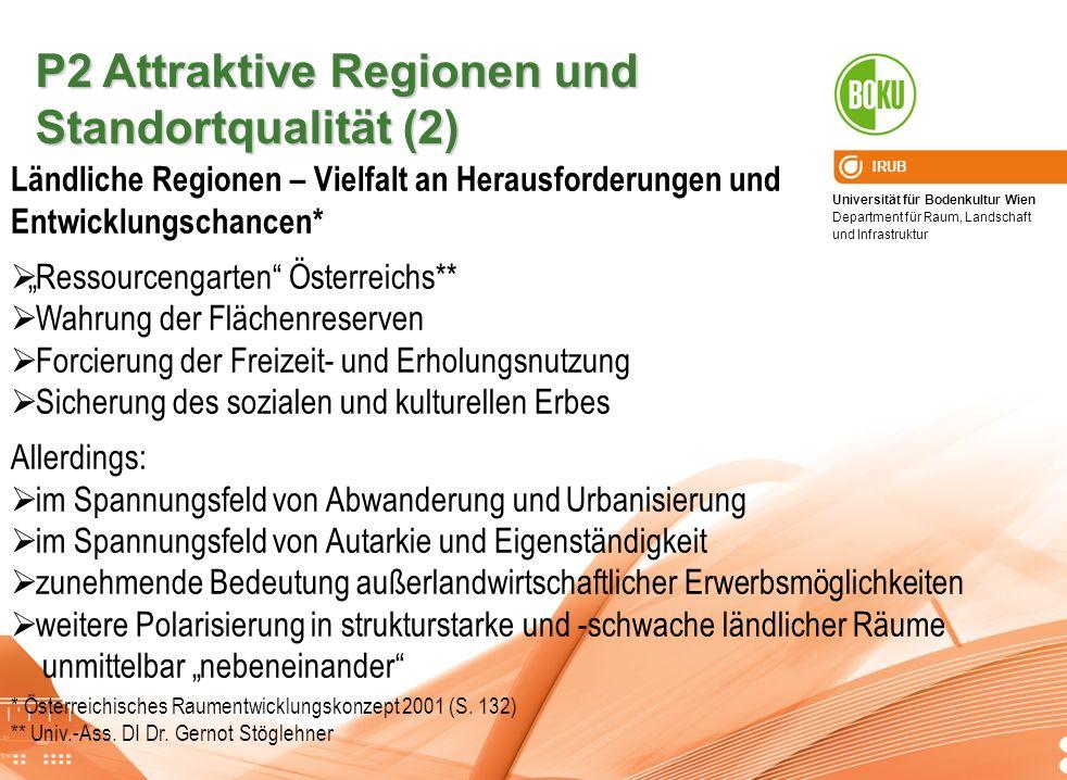 Universität für Bodenkultur Wien Department für Raum, Landschaft und Infrastruktur IRUB P2 Attraktive Regionen und Standortqualität (2) Ländliche Regi