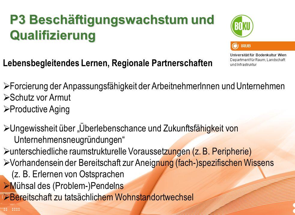 Universität für Bodenkultur Wien Department für Raum, Landschaft und Infrastruktur IRUB P3 Beschäftigungswachstum und Qualifizierung Lebensbegleitende