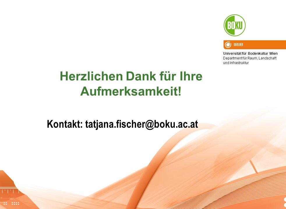 Universität für Bodenkultur Wien Department für Raum, Landschaft und Infrastruktur IRUB Herzlichen Dank für Ihre Aufmerksamkeit! Kontakt: tatjana.fisc